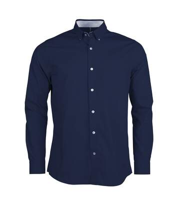Kariban Mens Long Sleeve Washed Poplin Shirt (Navy) - UTPC2541
