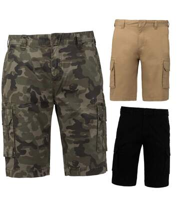 Lot 3 bermudas multipoches homme K754 - beige noir et vert army camo