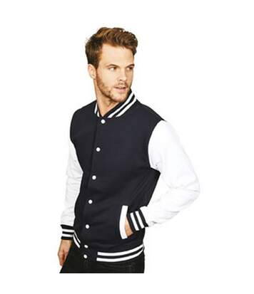 Casual Classic Mens Varsity Jacket (Navy/White) - UTAB454