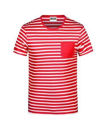 T-shirt rayé coton bio marinière homme - 8028 - rouge