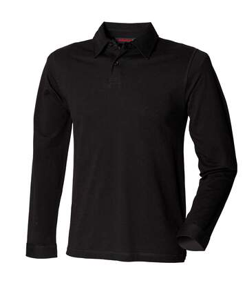 Skinni Fit Mens Long Sleeve Stretch Polo Shirt (Black) - UTRW1399