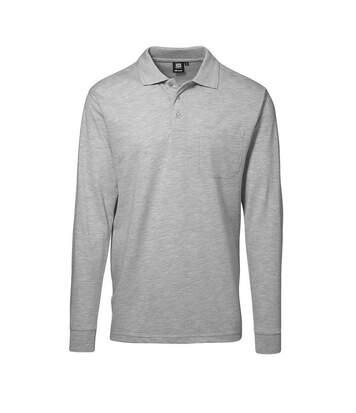 ID Mens Pro Wear Pocket Long Sleeve Regular Fitting Polo Shirt (Grey melange) - UTID265