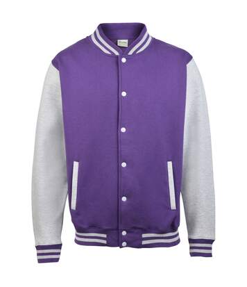 Awdis Unisex Varsity Jacket (Purple/ Heather Grey) - UTRW175