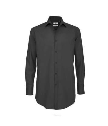 B&C Mens Black Tie Long Sleeve Formal Work Shirt (Black) - UTRW3521