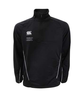 Canterbury Mens Team 1/4 Zip Mid Layer Sports Training Top (Black/White) - UTPC2476