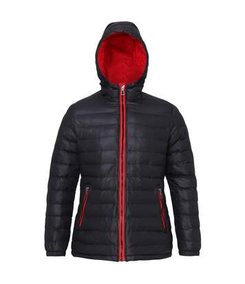 2786 Womens/Ladies Hooded Water & Wind Resistant Padded Jacket (Black/Red) - UTRW3425
