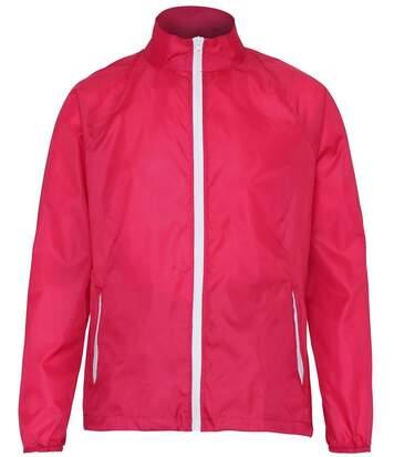 Veste coupe-vent imperméable mixte - TS011 - rose foncé et blanc