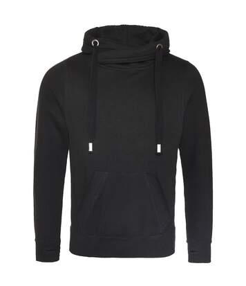 AWDis Hoods Mens Cross Neck Hoodie (Jet Black) - UTRW5363