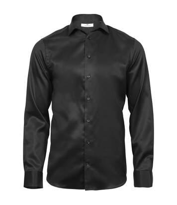 Tee Jays Mens Luxury Slim Fit Long Sleeve Oxford Shirt (Black) - UTPC3485