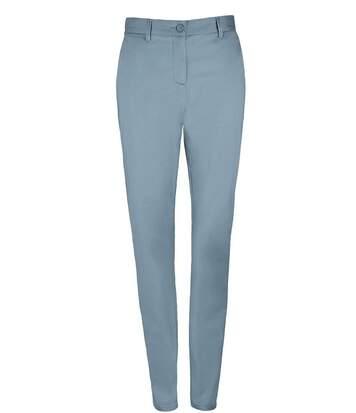 pantalon toile satin femme - 02918 - bleu clair