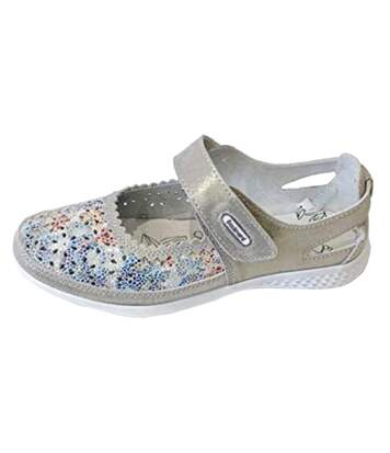 Boulevard Womens/Ladies Touch Fastening EEE Fit Suede Shoes (Grey/Floral) - UTDF1760