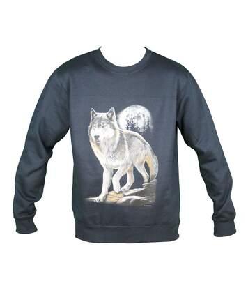 Sweat-shirt motif loup - 10380 - homme - bleu marine