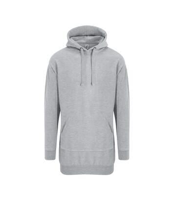 Sweat long à capuche - robe pour femme - JH015 - gris