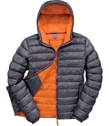 Veste matelassée - doudoune homme R194M - gris et orange