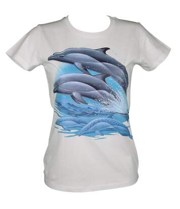 T-shirt femme manches courtes - dauphins 12393 - blanc