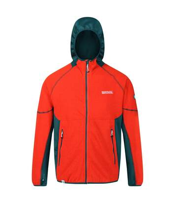 Regatta Mens Kniver Hooded Stretch Fleece (Burnt Salmon/Deep Teal) - UTRG4627