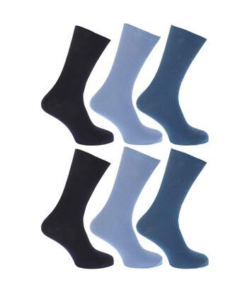 FLOSO Mens Ribbed Non Elastic Top 100% Cotton Socks (Pack Of 6) (Shades of Blue) - UTMB186