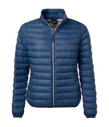 Veste doudoune matelassée duvet - JN1139 - bleu indigo - Femme