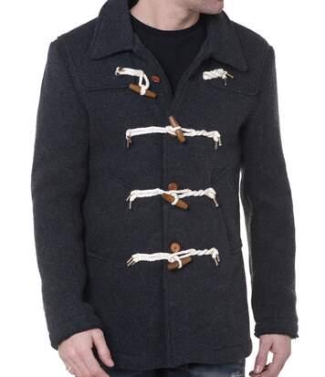 Duffle Coat Homme Gris Boutons Brandebourgs