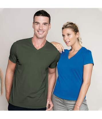 Kariban Mens Short Sleeve V Neck Slim Fit T-Shirt (Khaki) - UTRW707