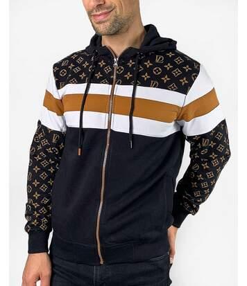 Sweat capuche noir zippé à motifs monogramme marron pour homme