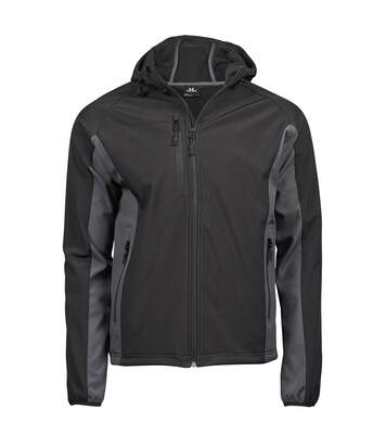Tee Jays Mens Hooded Fashion Softshell Jacket (Black/Dark Grey) - UTBC3327