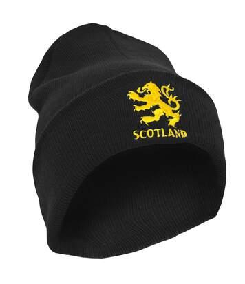 Mens Scotland Lion Design Embroidered Winter Beanie Hat (Black) - UTHA125