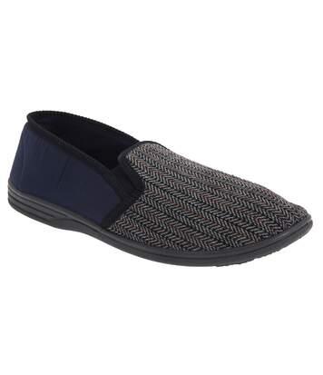 Zedzzz Mens Charles Herringbone Felt Gusset Slippers (Navy Blue) - UTDF812