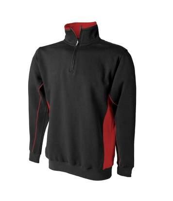 Finden & Hales Mens 1/4 Zip Sweatshirt Top (Navy/White) - UTRW423