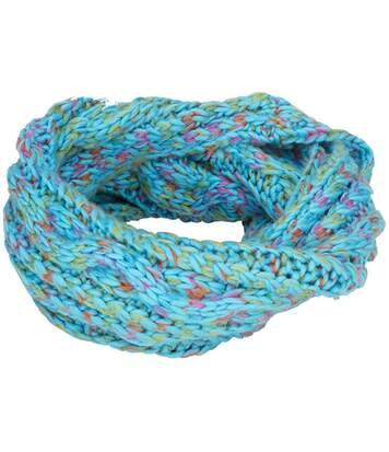Echarpe tricotée - MB7303 - bleu turquoise mélange