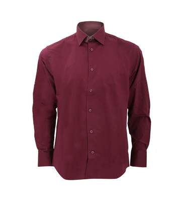 Russell Collection Mens Long Sleeve Easy Care Fitted Shirt (Port) - UTBC1031