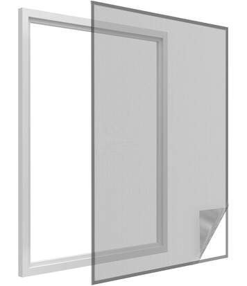 Toile moustiquaire pour fenêtre avec bande de fixation 150 x 180 cm