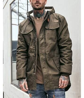 Parka longue kaki hiver à capuche fourré sherpa et poches poitrines pour homme