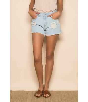 Short en jean taille haute HONNA Bleach