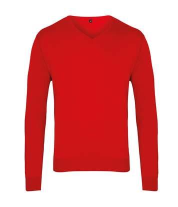Premier Mens V-Neck Knitted Sweater (Red) - UTRW1131