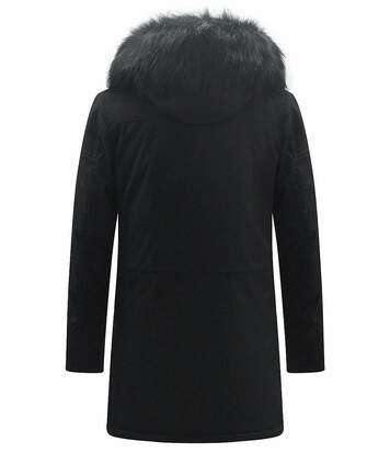 Parka longue à col montant et capuche fausse fourrure noire avec zips latérales haut pour homme