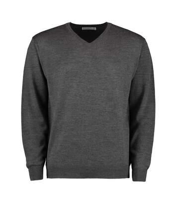 Kustom Kit Mens Long Sleeve Merino Blend Sweater (Dark Grey Melange) - UTBC3724
