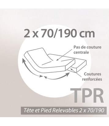 Protège matelas imperméable 2x70x190 cm ANTONY Spécial lit articulé TPR Molleton enduction acrylique