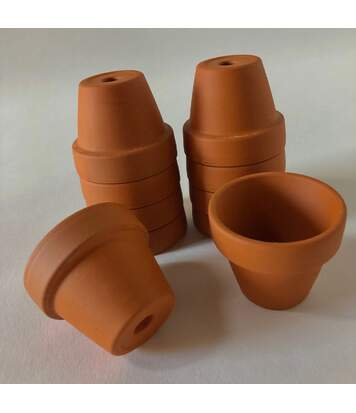 Lot de 10 mini-pots en terre cuite H. 4 cm