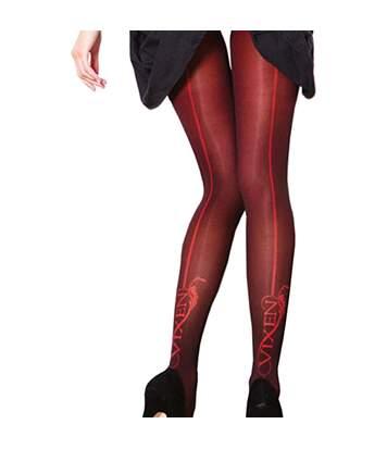 Couture Vixen Brigitte - Collants Opaques À Motifs Couture (1 Paire) - Femme (Rouge) - UTLW319
