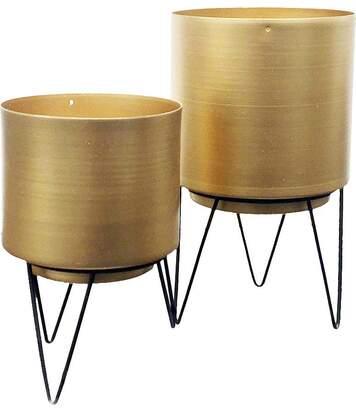 Set de 2 cache-pots dorés avec pieds filaires