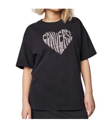 T-Shirt noir femme Converse Heart Reverse Print