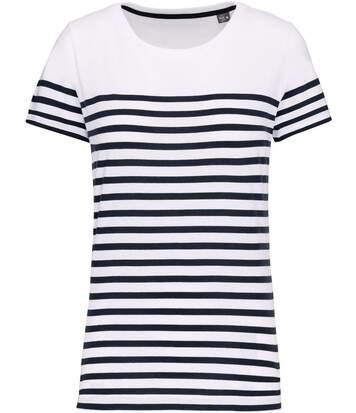 T-shirt rayé coton bio marinière femme - k3034 - blanc et bleu marine