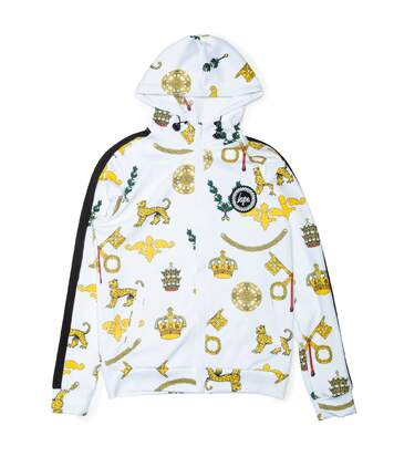 Hype Mens Royal Crest Track Zip Up Hoodie (White/Gold) - UTHY734