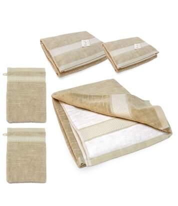 Parure de bain 5 pièces FICUS Vert 500 g/m2 pur coton bio