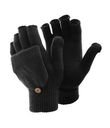 FLOSO Ladies/Womens Winter Capped Fingerless Magic Gloves (Black) - UTGL225