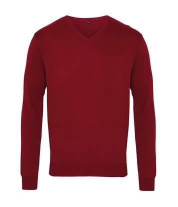 Premier Mens V-Neck Knitted Sweater (Bottle) - UTRW1131