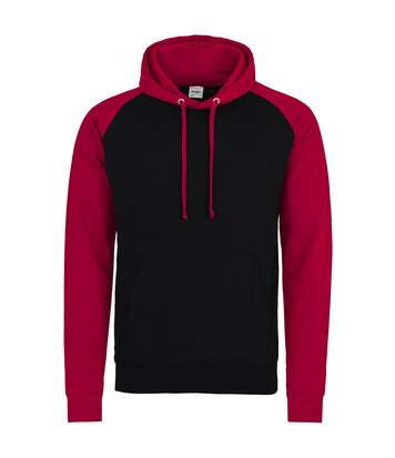 Awdis Just Hoods Adults Unisex Two Tone Hooded Baseball Sweatshirt/Hoodie (Jet Black/Gold) - UTRW3928