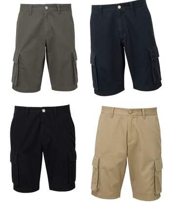 Lot 4 bermudas coton multipoches homme - noir bleu beige et gris