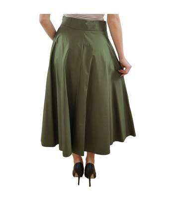 PAOLA SORMANI Jupe à carreaux, satin, longue, élégante, brillante, confortable, vert foncé